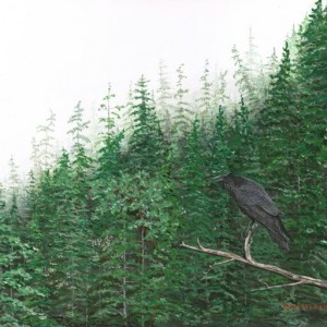 Perched Raven