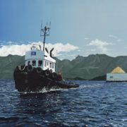 Tug towing a chip barge in Howe Sound
