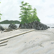 Sand formation and islet at Chesterman Beach